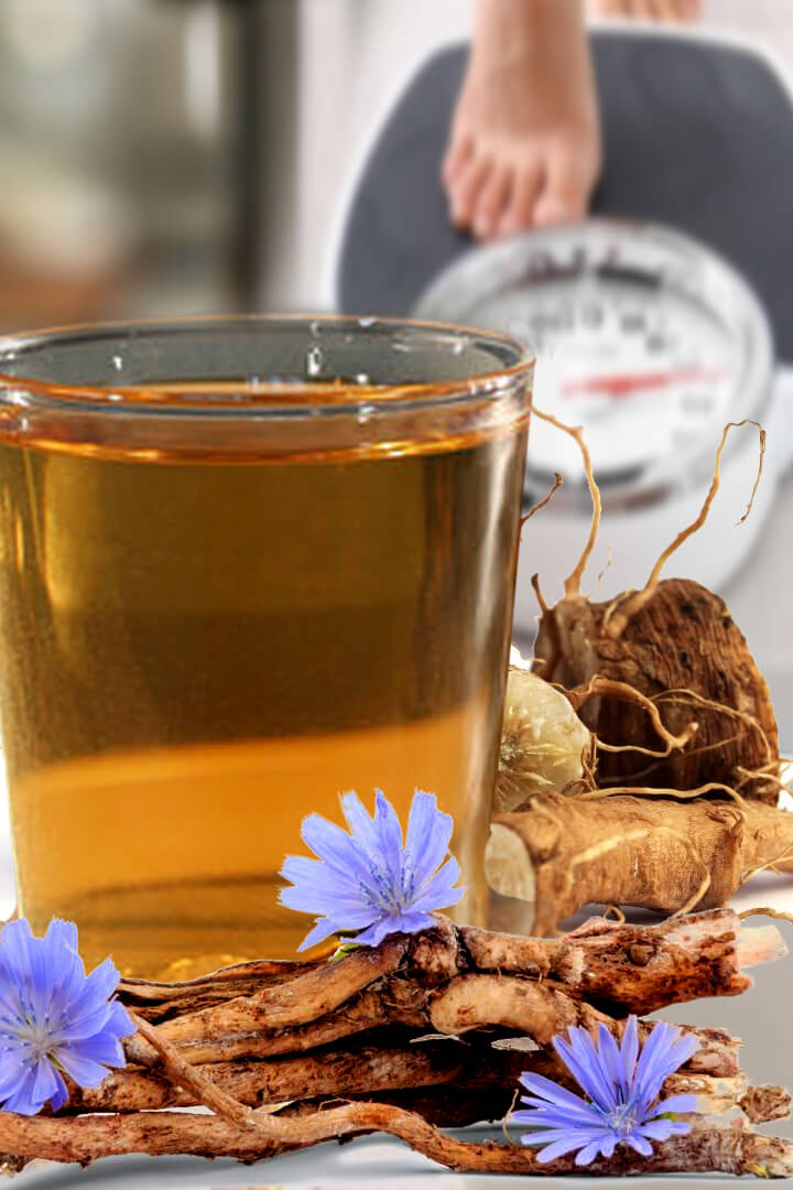 health benefits of chicory root tea, fiber and leaves