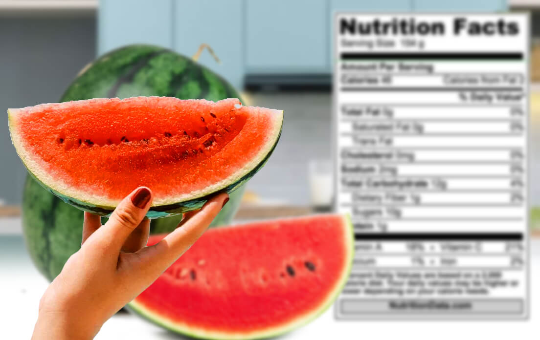 Nutritional content in 100 grams of watermelon